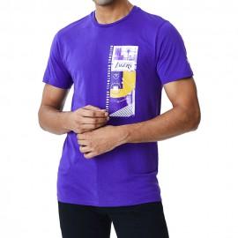 New Era T-Shirt Photo Print Los Angeles Bu Grigio Uomo