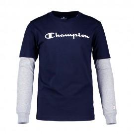 Champion Maglietta Palestra Manica Lunga Logo Blu Bambino