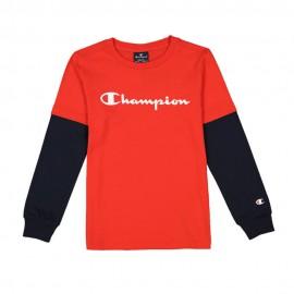Champion Maglietta Palestra Manica Lunga Logo Rosso Bambino